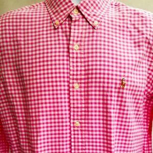 """New Men's """"Polo Ralph Lauren"""" Pink Check Shirt"""